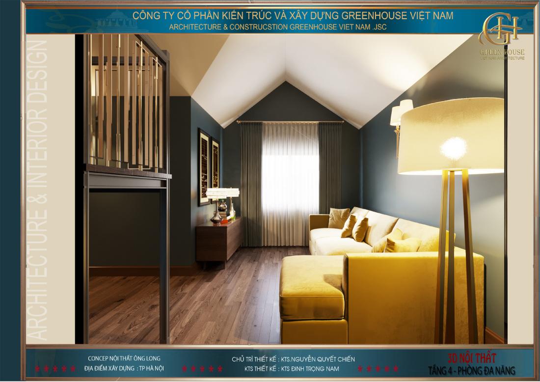 Phòng thiết kế thêm một bộ sofa dài để phục vụ gia đình