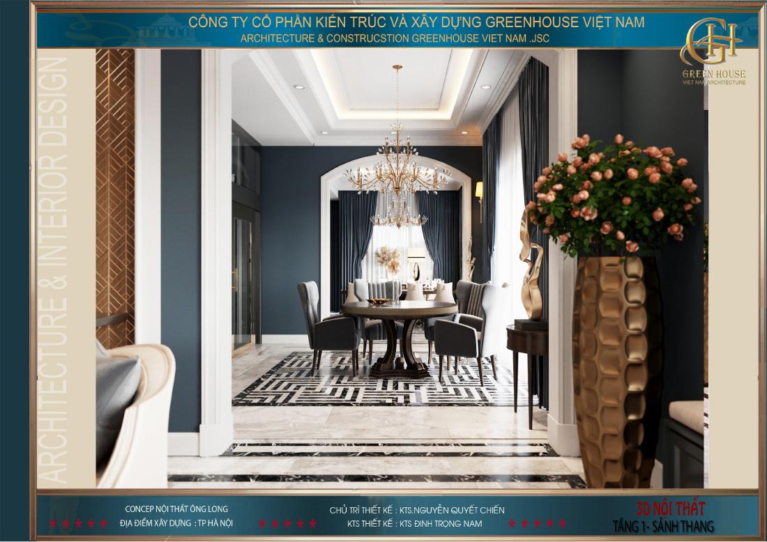 Bố trí sảnh tầng ở bên ngoài không gian phòng khách và phòng bếp