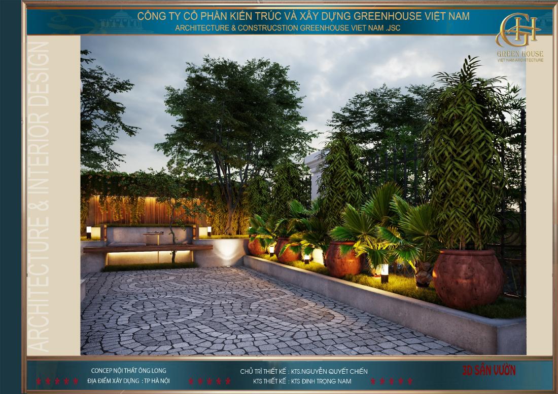 Không gian sân vườn đằng trước nhà được bố trí đa dạng các loại cây cảnh