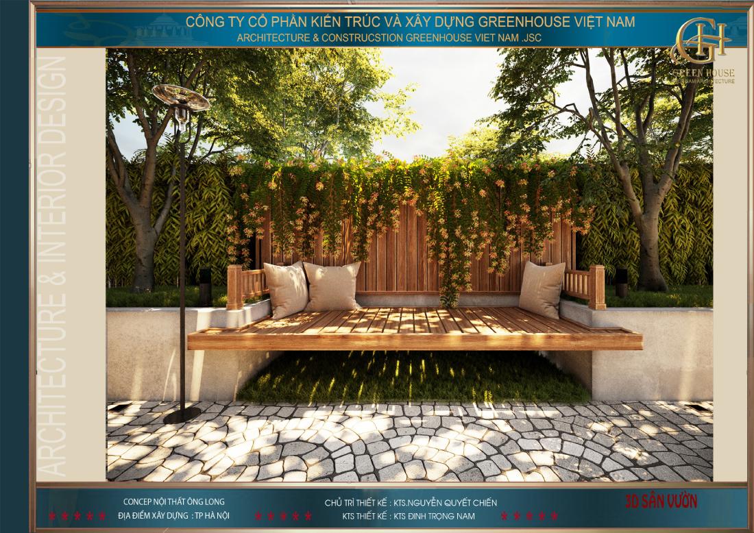 Một chiếc ghế dài để thư giãn cũng là sự lựa chọn hợp lí cho sân vườn