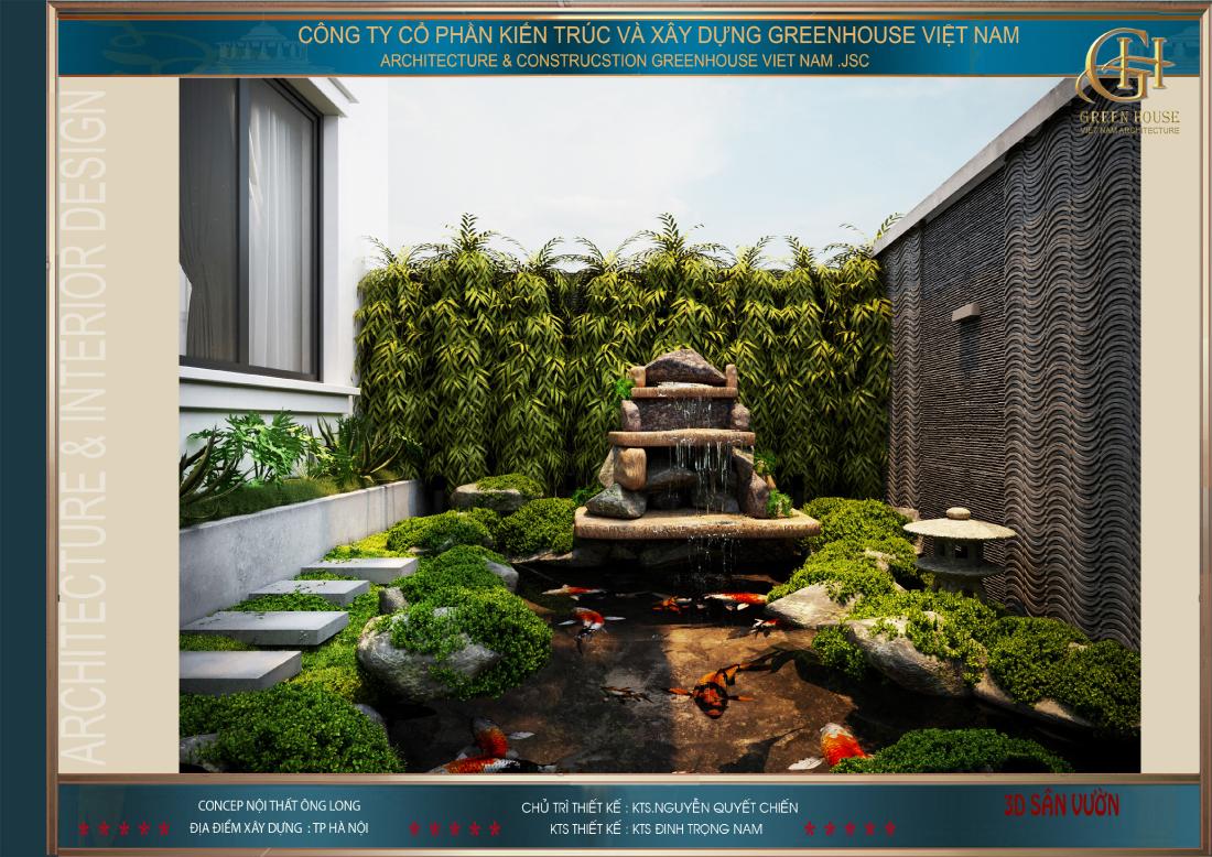 Thác nước mini kết hợp với cây xanh tạo nên vẻ đẹp độc đáo
