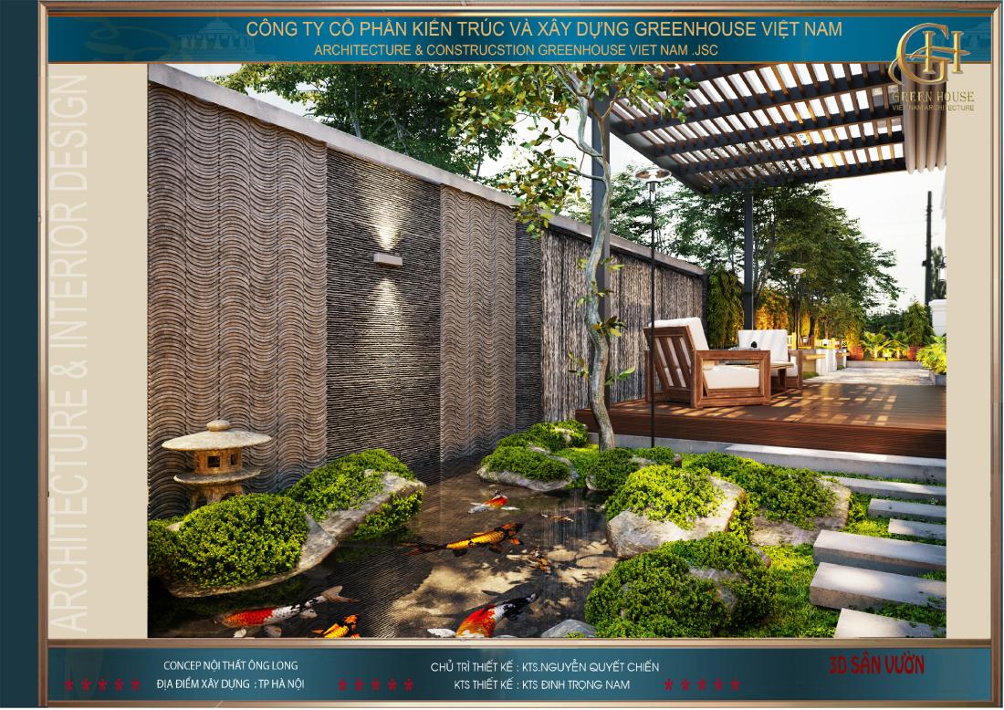 Bộ ghế đôi ở sân vườn giúp gia chủ có thể vừa uống trà vừa ngắm cảnh