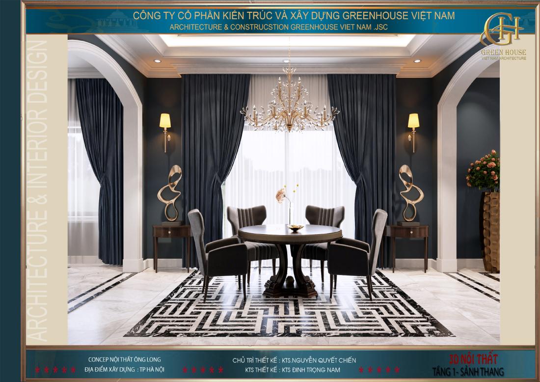 Không gian sảnh tầng được thiết kế đồng bộ với phòng khách