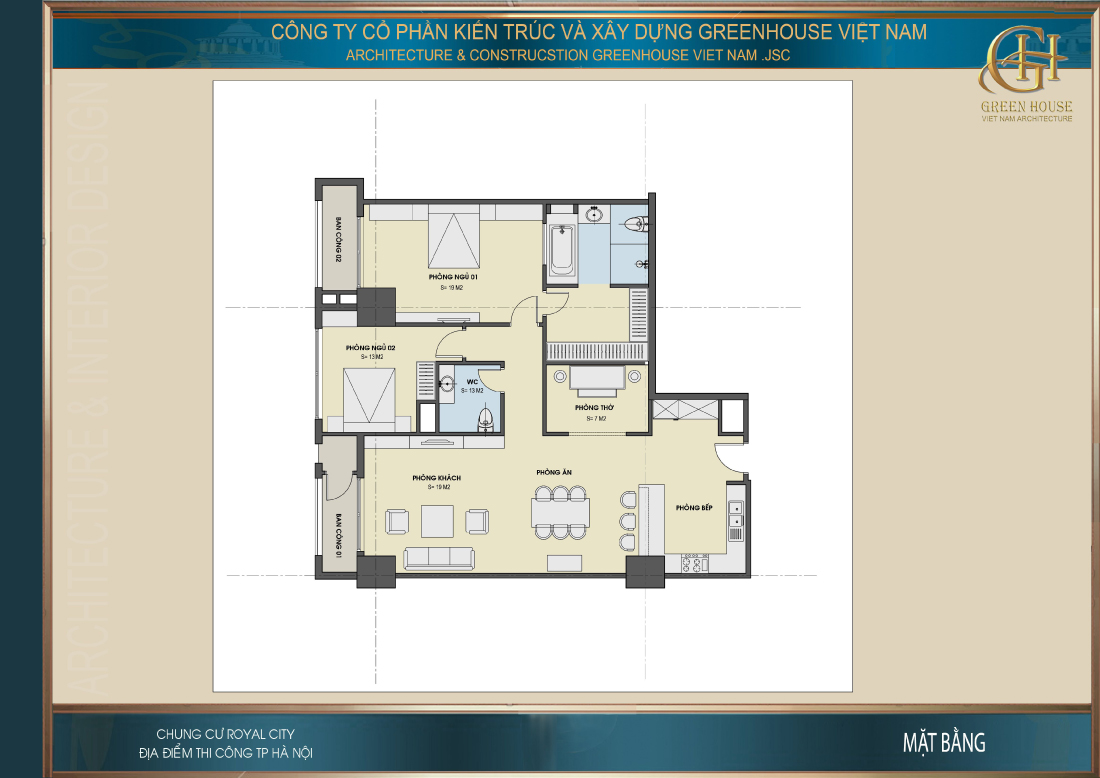 Mặt bằng công năng sử dụng của căn hộ chung cư tại Hà Nội