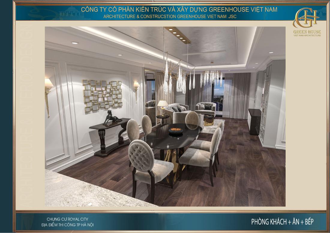 Toàn cảnh không gian nội thất phòng khách và phòng ăn của chung cư