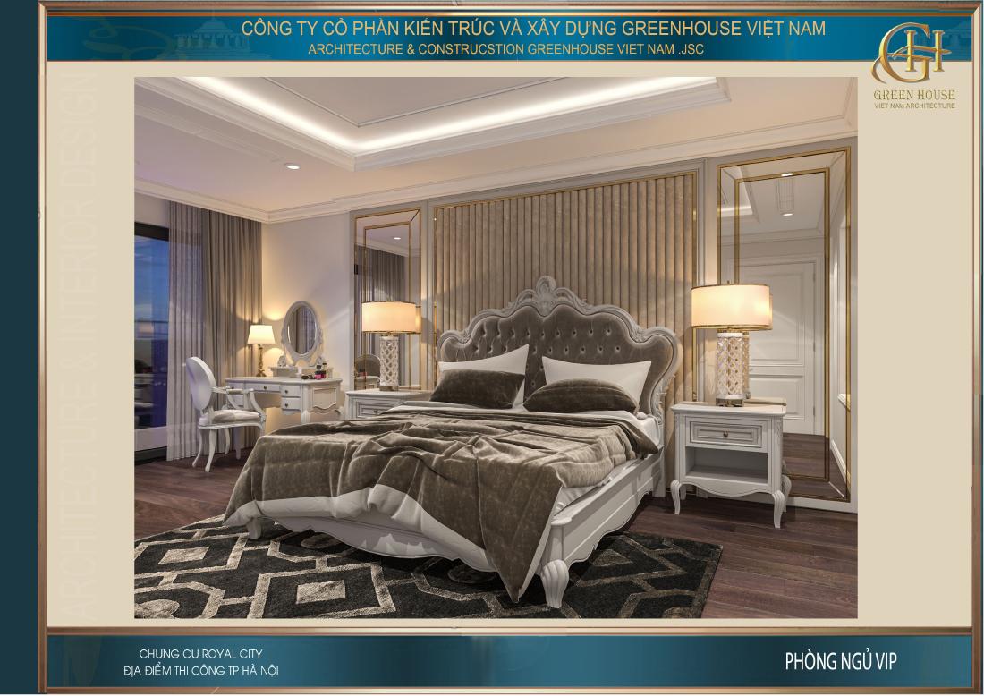 Thiết kế nội thất phòng ngủ màu nâu trắng mang đến sự sang trọng