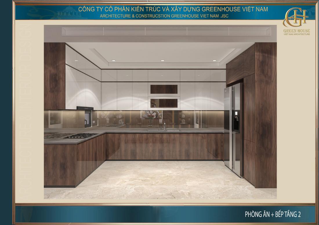 Thiết kế phòng bếp của nhà phố hiện đại với nội thất gỗ sang trọng, đẳng cấp