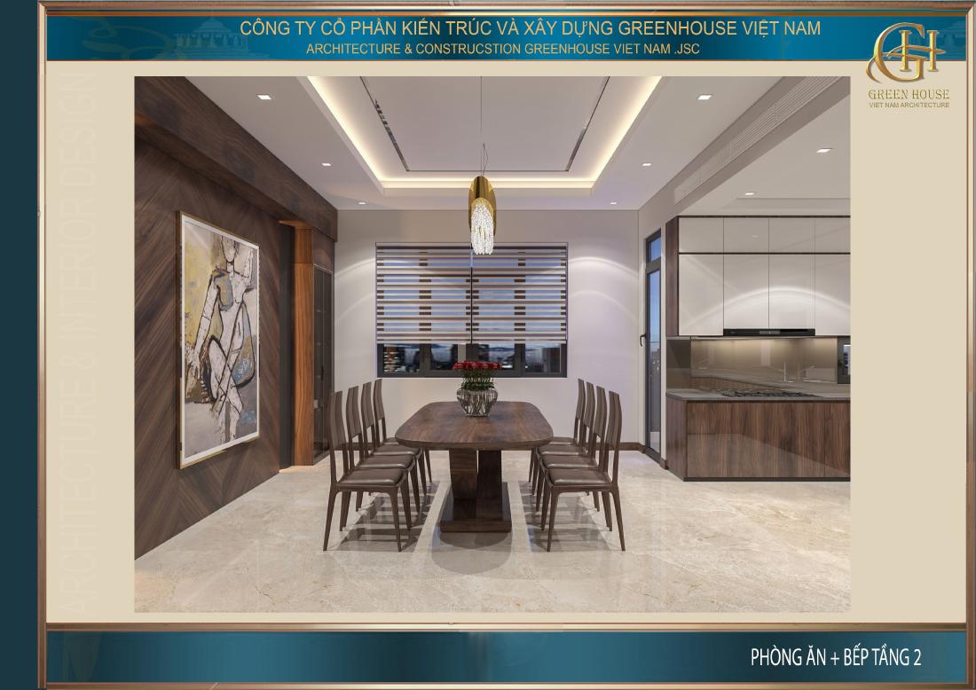Thiết kế nội thất phòng bếp mở với các khung cửa sổ lớn tràn ngập ánh sáng