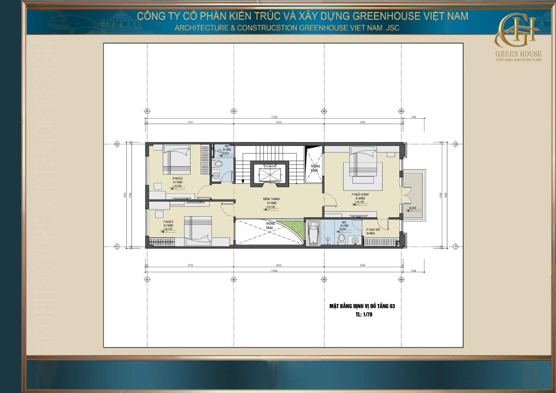 Bố trí công năng tầng 3 của nhà phố hiện đại 4 tầng tại Hải Dương