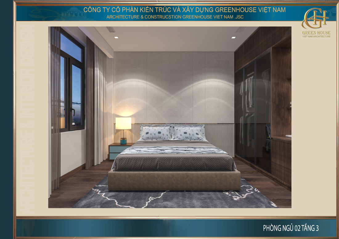 Thiết kế nội thất phòng ngủ số 2 gợi cảm giác nền nã, trầm lắng