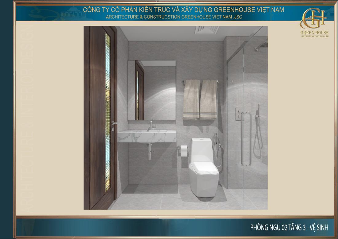 Không gian phòng vệ sinh chung tại tầng 2