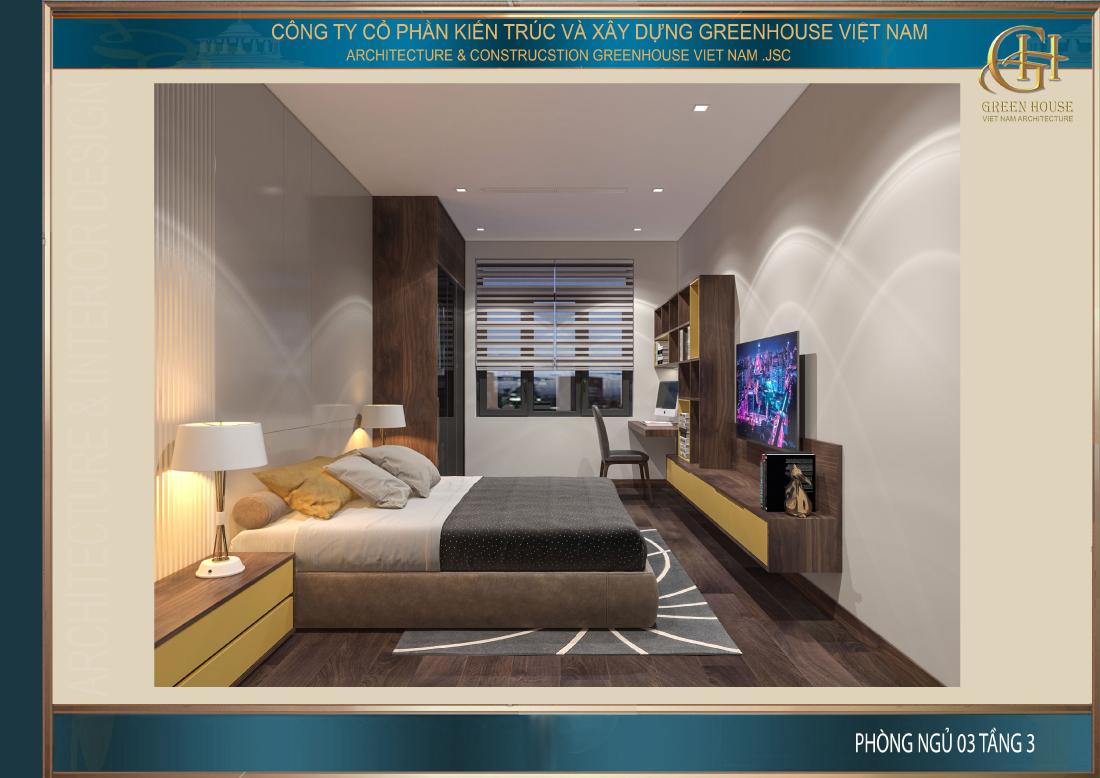 Thiết kế nội thất phòng ngủ số 3 với màu sắc tươi tắn trẻ trung hơn