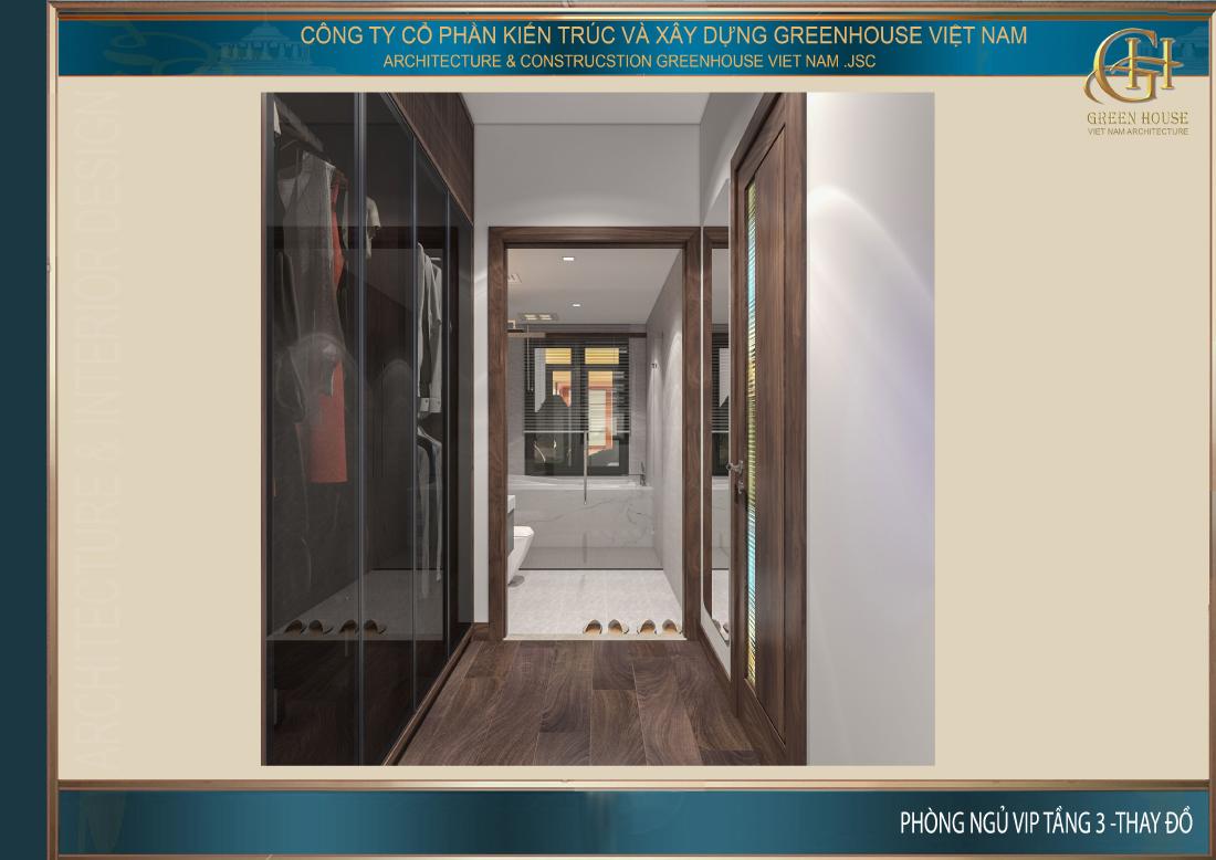 Không gian phòng thay đồ bên ngoài phòng tắm