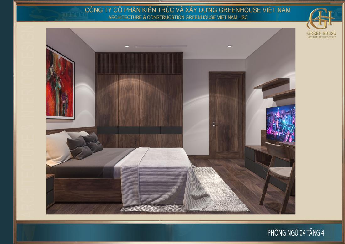 Phòng ngủ trên tầng 4 có kết cấu và thiết kế khá giống phòng ngủ ở tầng dưới