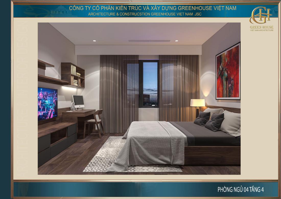 Phòng ngủ cũng được bố trí cửa sổ lớn để mang lại nguồn ánh sáng
