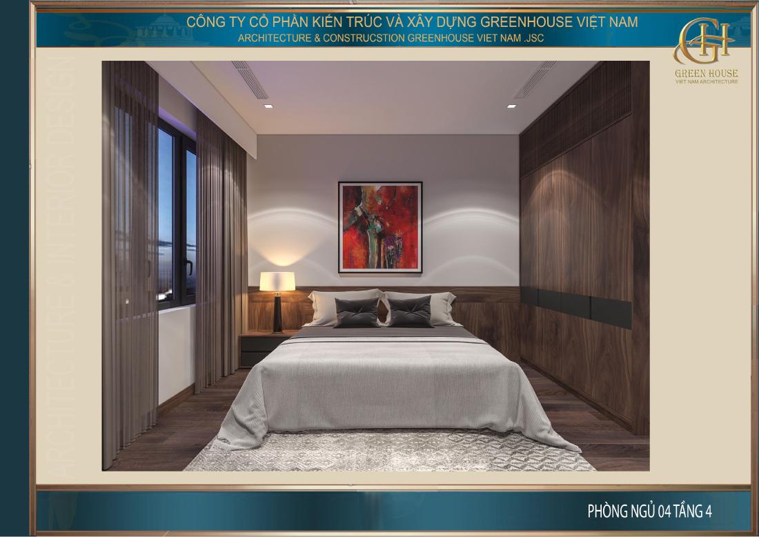 Toàn cảnh không gian phòng ngủ tại tầng 4 của nhà phố tại Hải Dương
