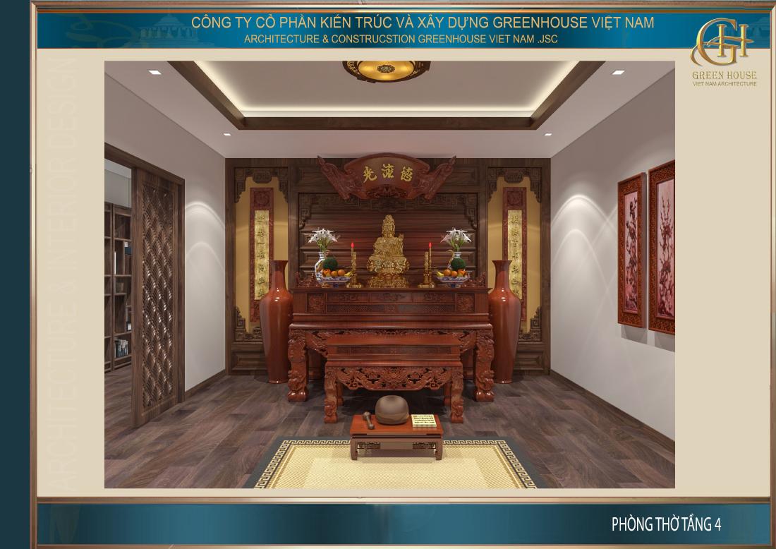 Thiết kế phòng thờ mang đậm nét văn hóa truyền thống