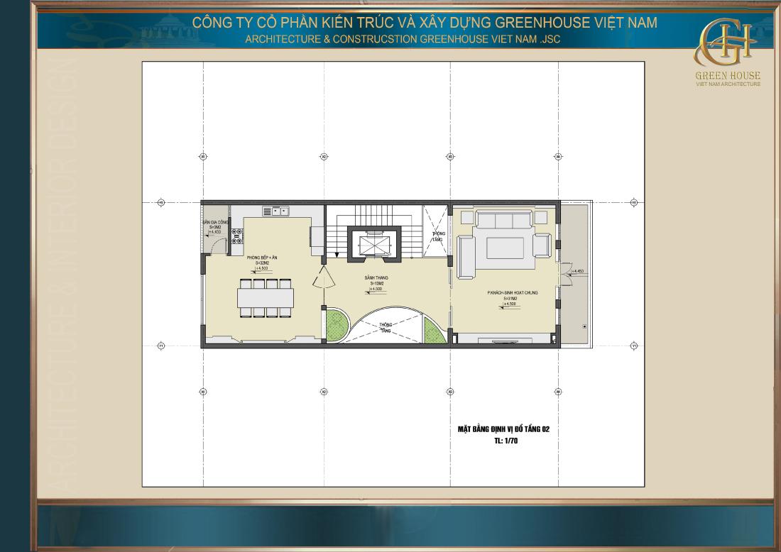 Tầng 2 là khu vực sinh hoạt chung của gia đình với phòng khách và phòng bếp