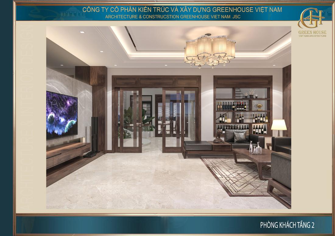 Thiết kế nội thất phòng khách rộng rãi, sang trọng với khung cửa sổ tràn ngập ánh sáng