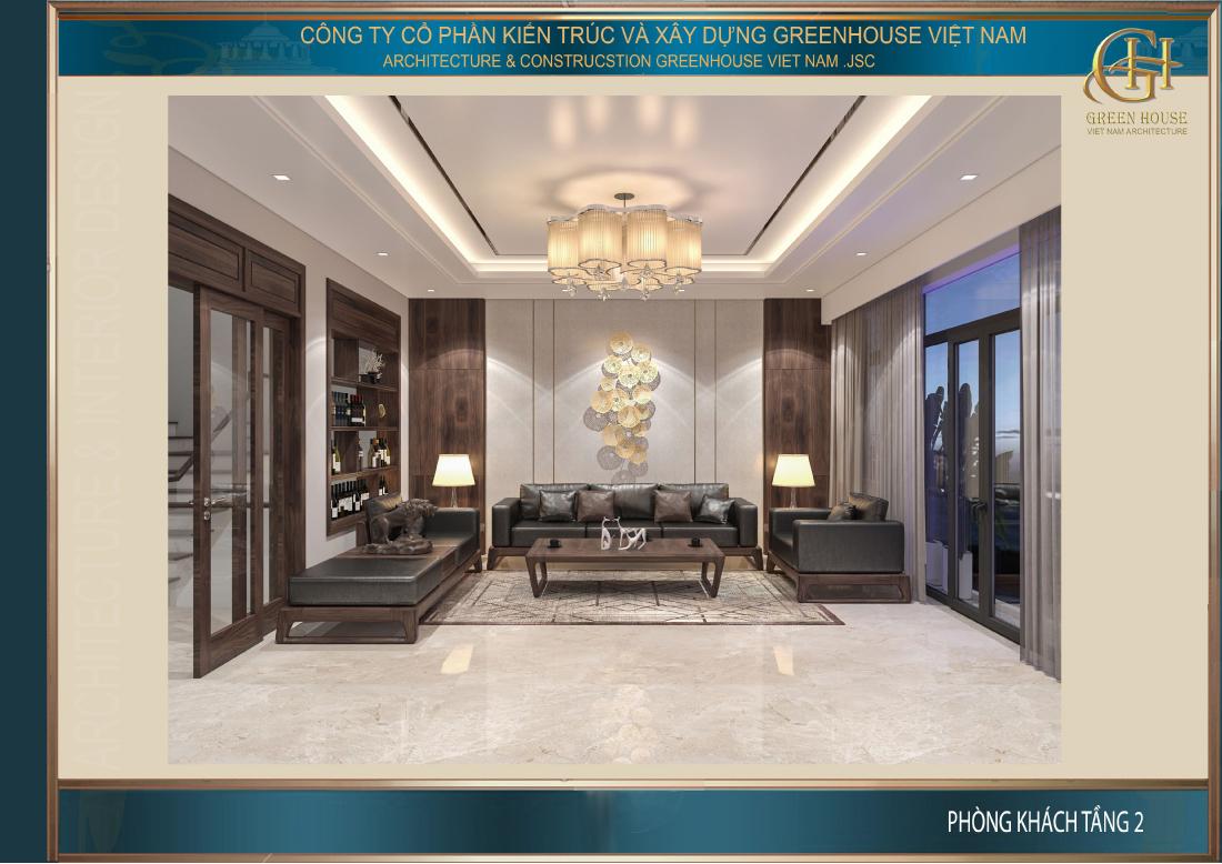 Thiết kế phòng khách với chất liệu gỗ chủ đạo trên nền trắng của tường và trần nhà cao rộng