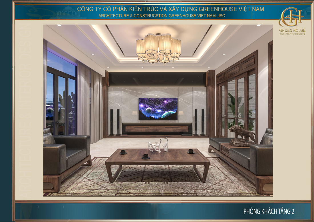 Không gian phòng khách tràn ngập ánh sáng với hệ thống cửa lớn