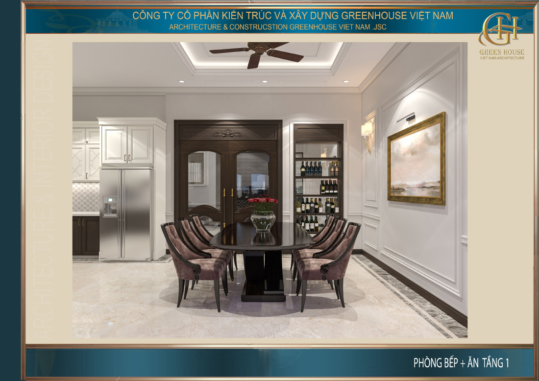 Không gian phòng ăn và phòng bếp của nhà phố tân cổ điển tại Ninh Bình