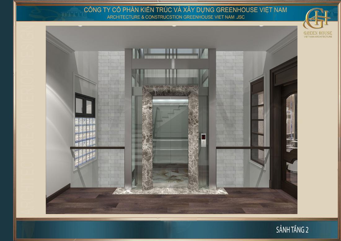 Thiết kế hệ thống thang bộ và thang máy nối liền không gian giữa các tầng của nhà phố