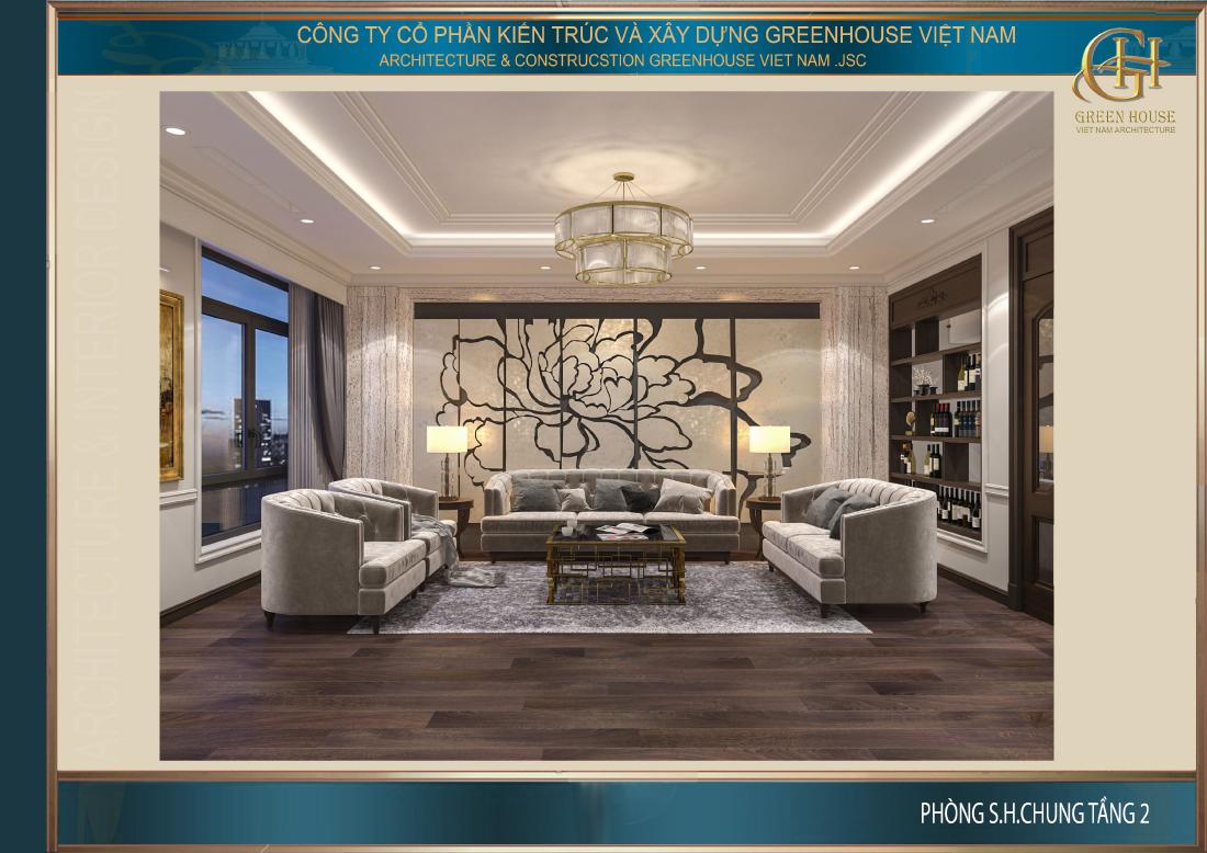 Thiết kế không gian phòng sinh hoạt chung của nhà phố tân cổ điển