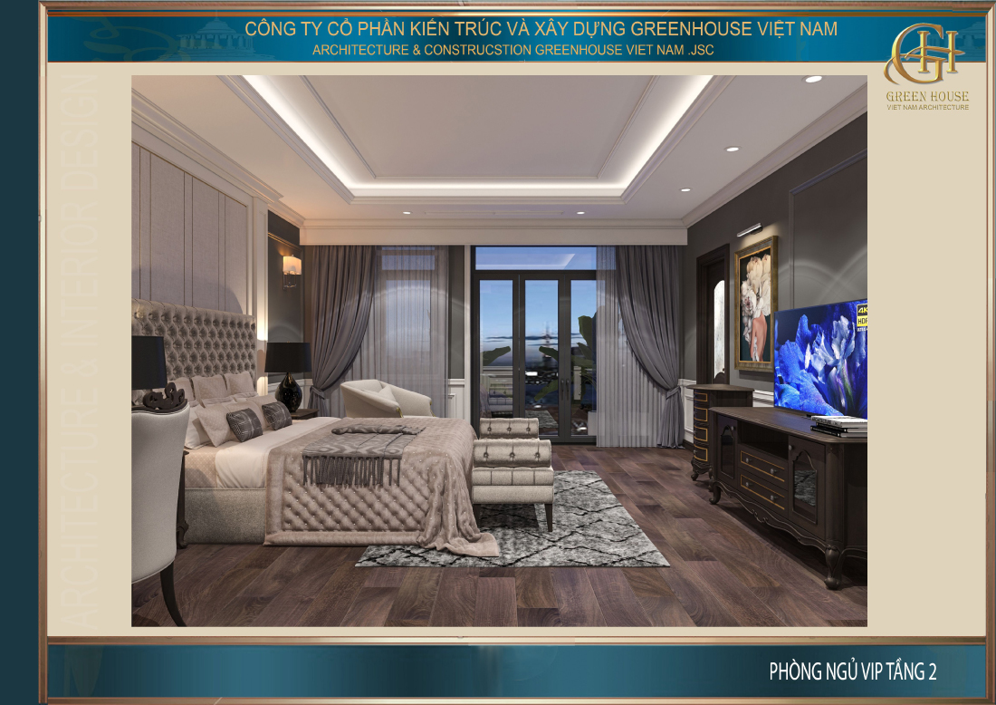 Phòng ngủ master của nhà phố tân cổ điển 4 tầng tại Ninh Bình