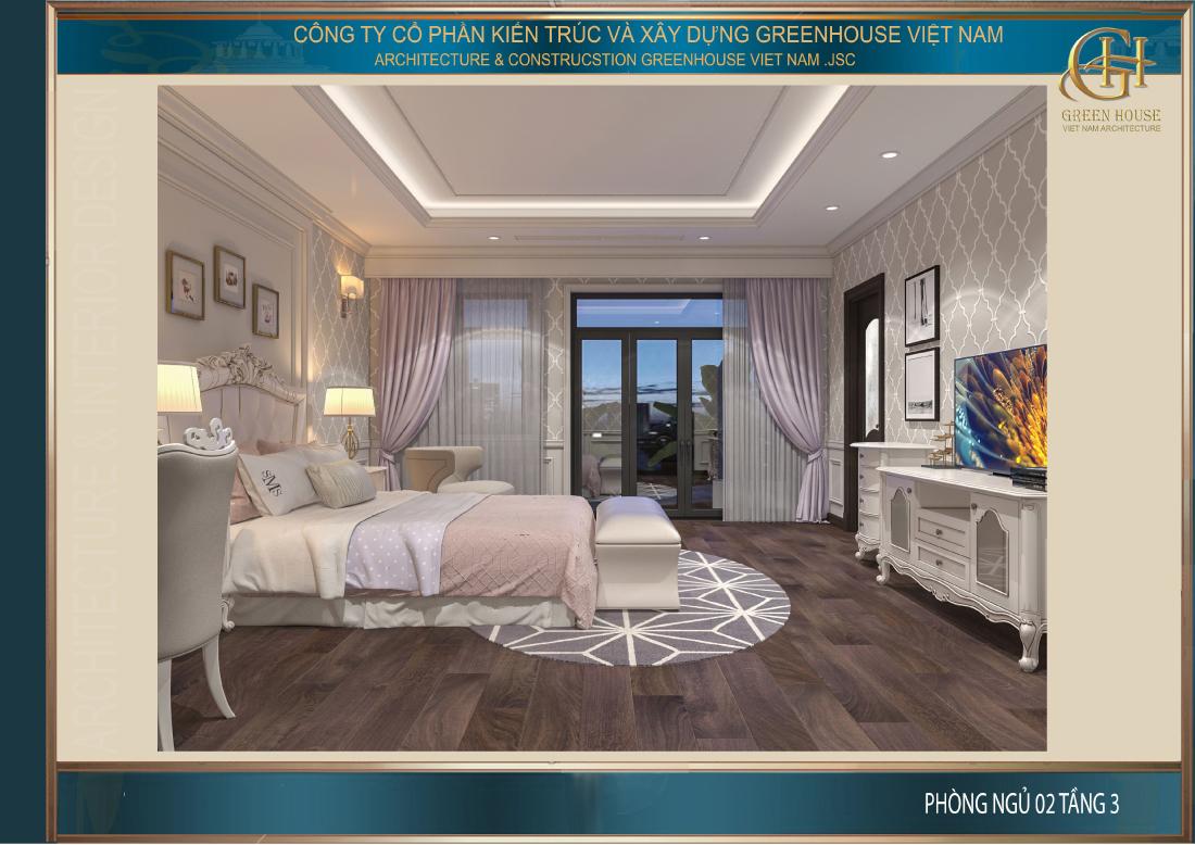 Căn phòng ngủ số 2 tại tầng 3 được thiết kế dành cho con gái