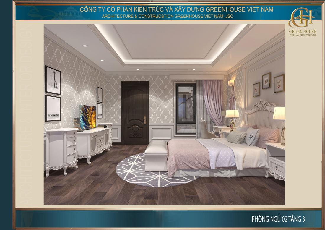 Toàn cảnh không gian phòng ngủ số 2 tại tầng 3