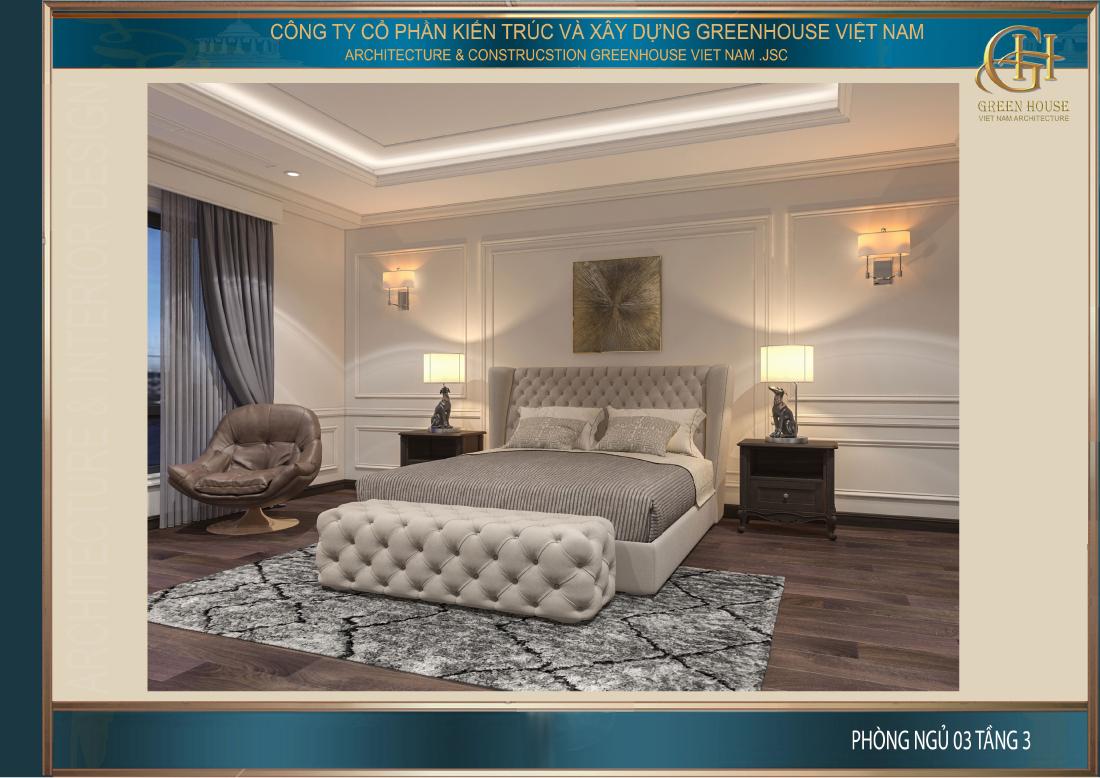Mẫu giường tại phòng ngủ số 3 có sự tương đồng với phòng ngủ chính