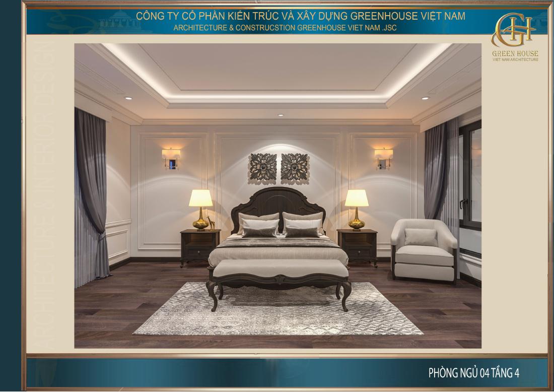Phòng ngủ trên tầng 4 mang phong cách thanh lịch, nhẹ nhàng và đơn giản