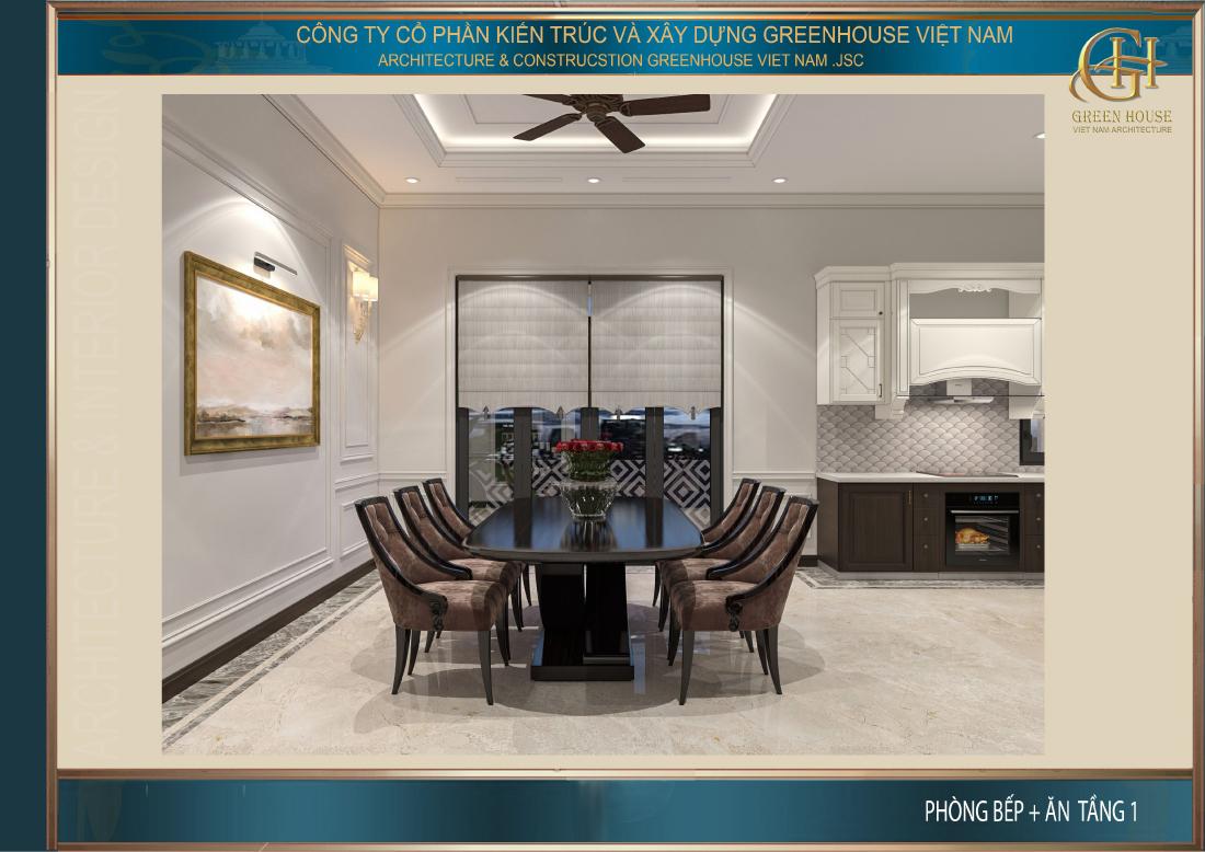 Thiết kế nội thất phòng ăn đơn giản nhưng sang trọng với đầy đủ tiện nghi