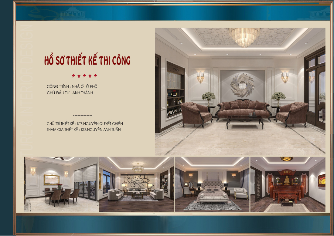 Thiết kế nội thất nhà phố tân cổ điển tại Ninh Bình - CĐT Anh Thành