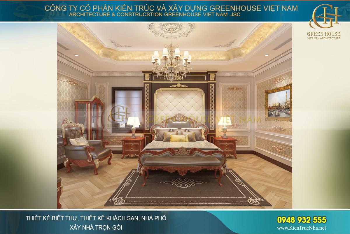 Thiết kế phòng ngủ master với phong cách sa hoa, quyền quý