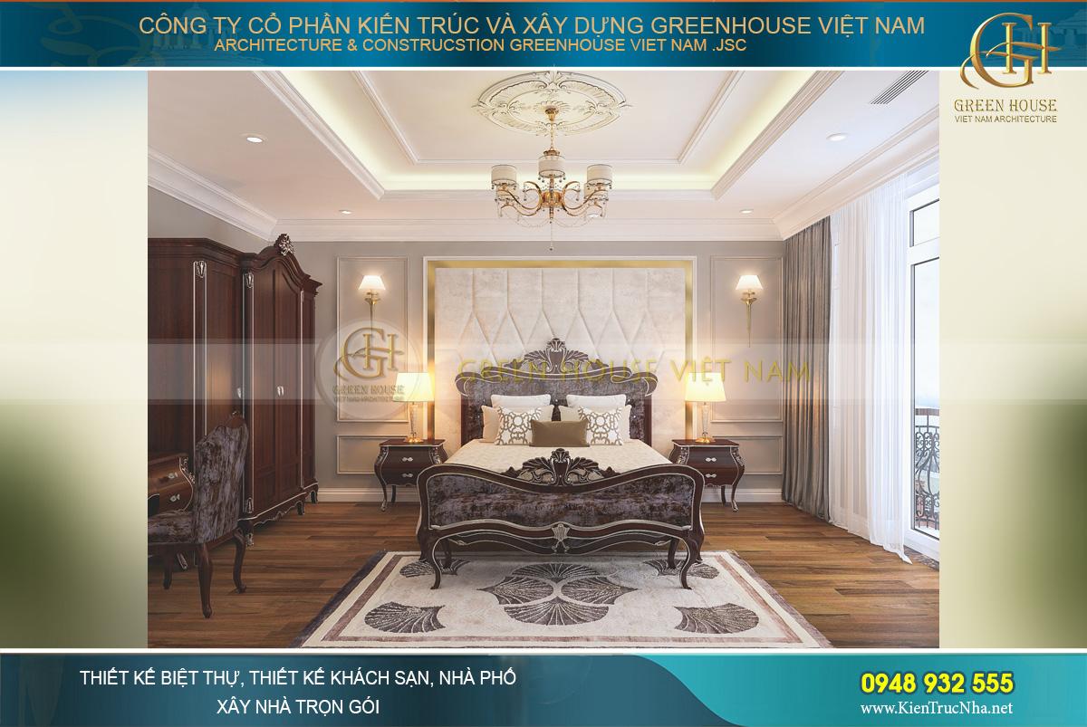 Không gian phòng ngủ master đẹp lộng lẫy như phòng ngủ hoàng gia