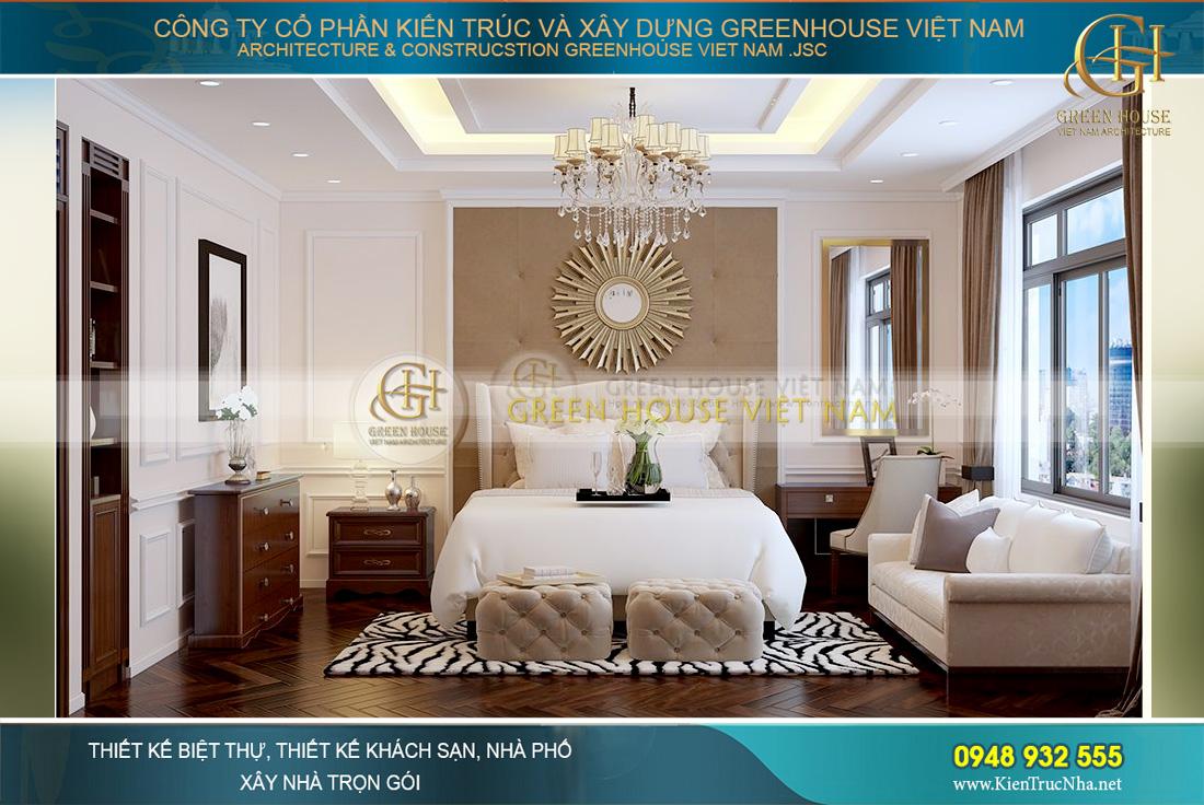 Thiết kế phòng ngủ master với tone màu nâu kem – vàng đồng sang trọng, lộng lẫy