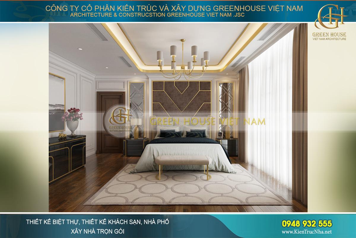 Không gian phòng ngủ master của vợ chồng anh Trung
