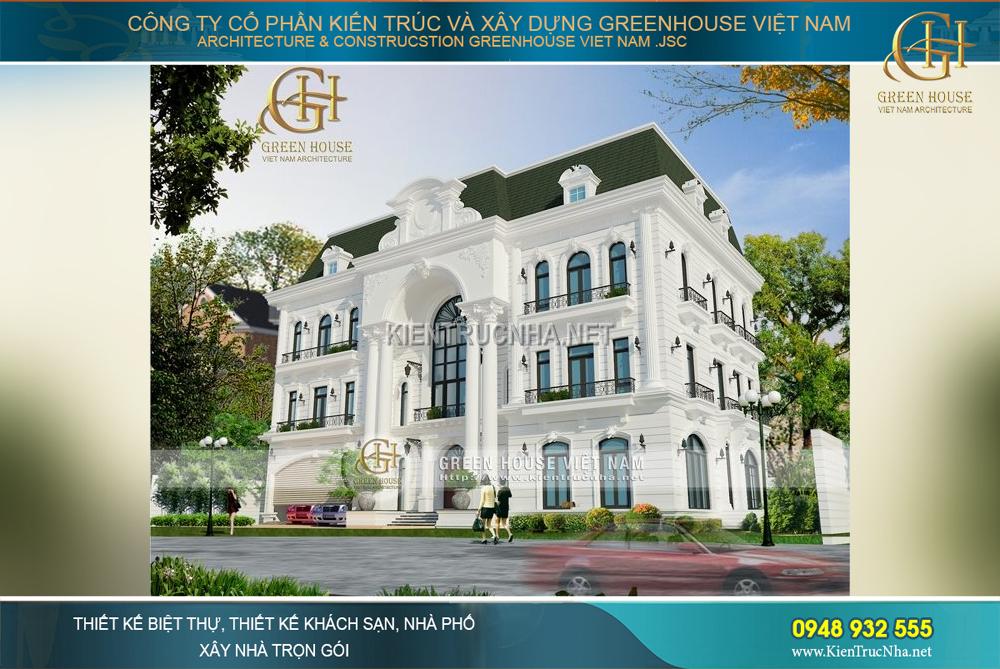 Ngôi biệt thự cổ điển 3 tầng với vẻ đẹp bề thế và lộng lẫy, nổi bật giữa các công trình xung quanh