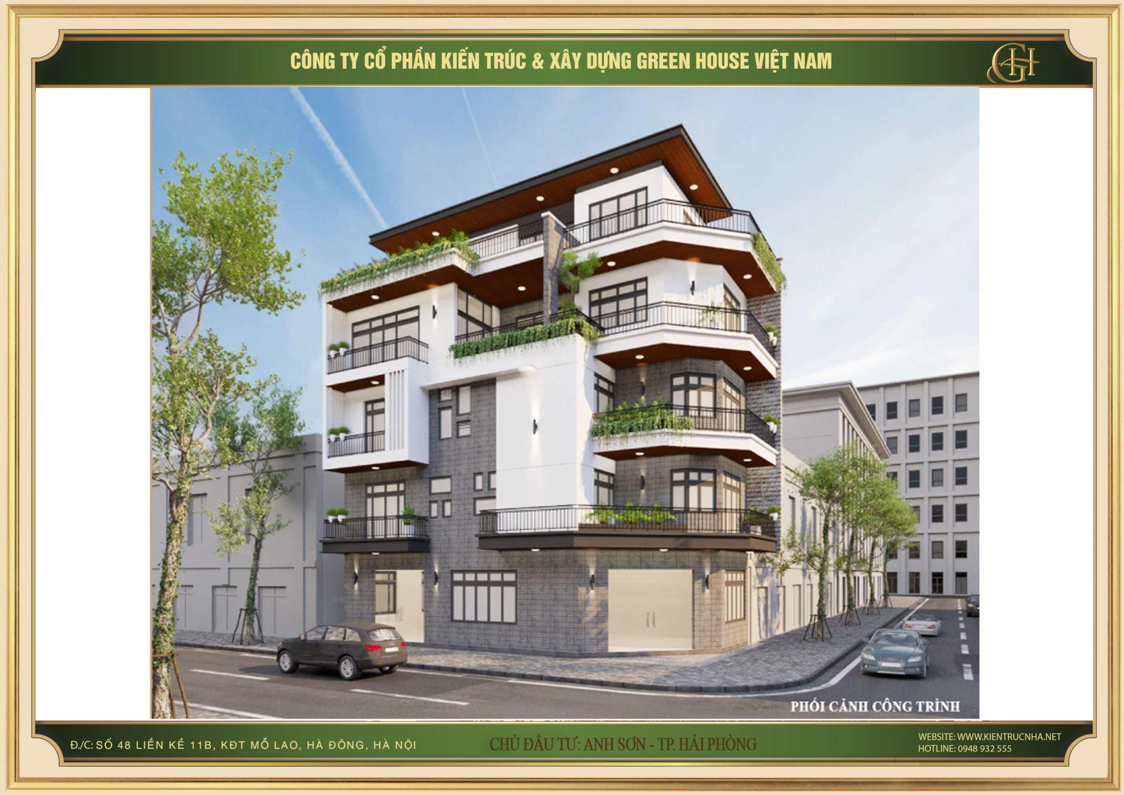 Thiết kế nhà phố hiện đại 5 tầng 2 mặt tiền đẹp tại Hải Phòng