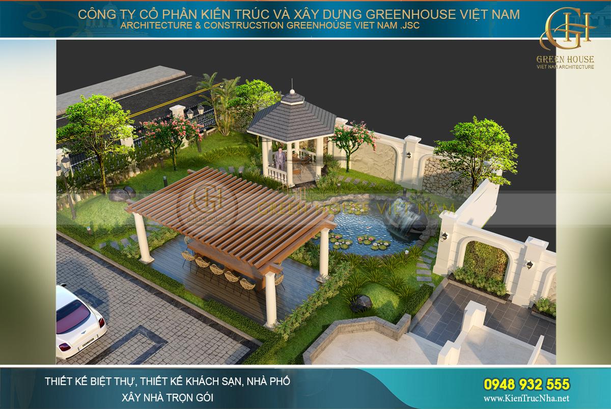Toàn cảnh khu vực sân vườn, hồ nước của biệt thự tân cổ điển 4 tầng
