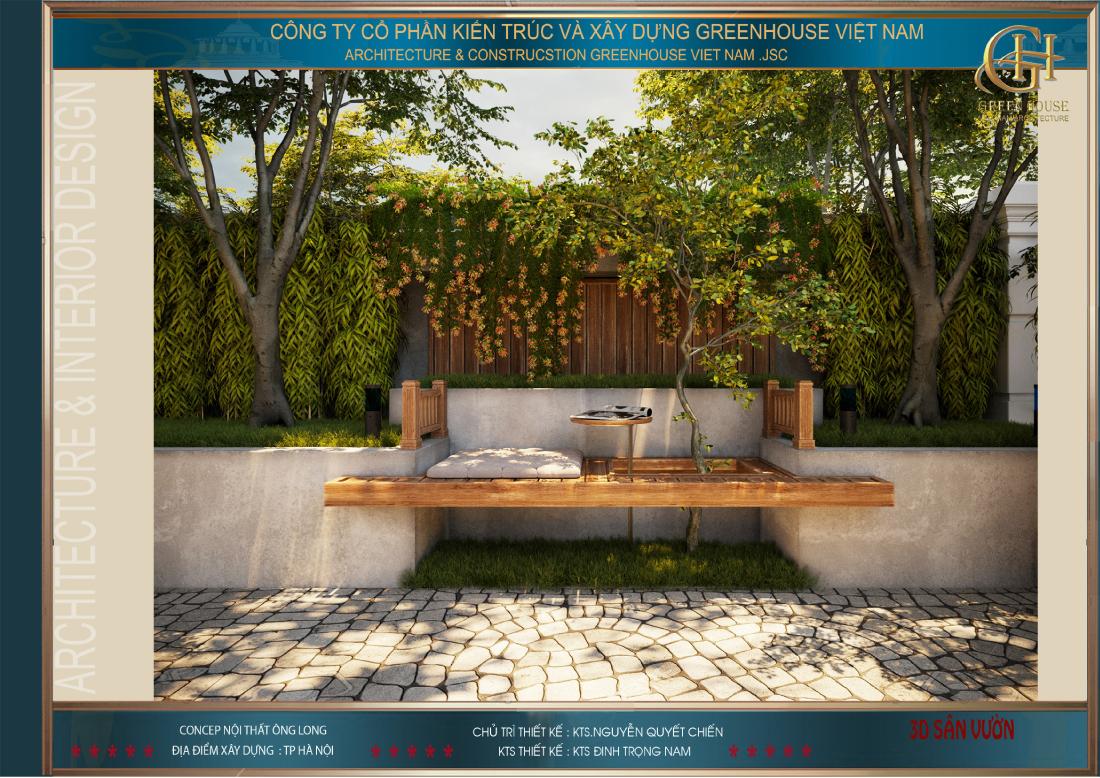 Các KTS đã khéo léo thiết kế những bộ bàn ghế bằng gỗ phù hợp với sân vườn