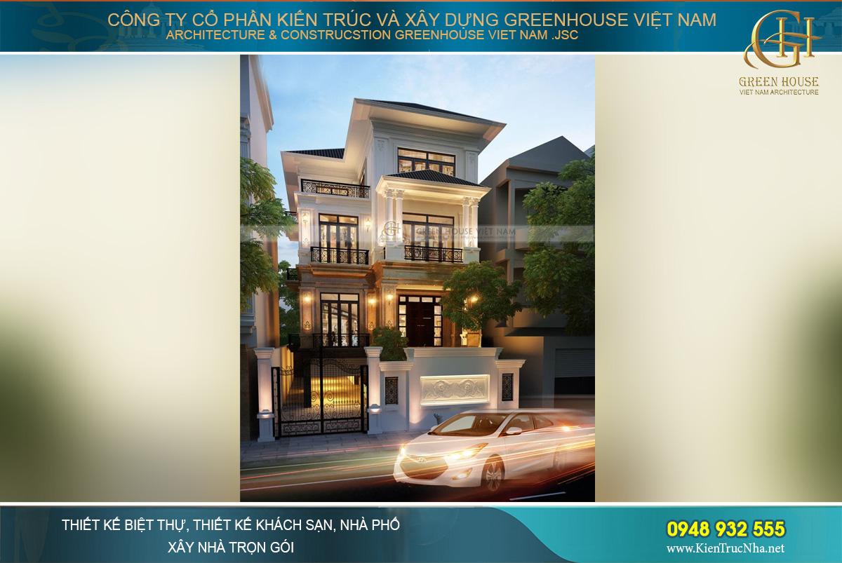 Mẫu biệt thự tân cổ điển 3 tầng đẹp nổi bật giữa trung tâm Hà Nội