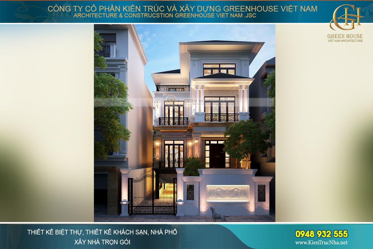 Phối cảnh mặt tiền của biệt thự 3 tầng phong cách tân cổ điển tại Hà Nội