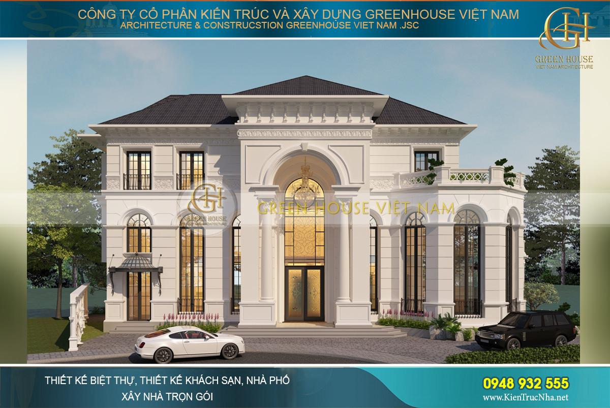 Phối cảnh mặt tiền của biệt thự tân cổ điển phong cách châu Âu tại Vinhomes Riverside Hà Nội