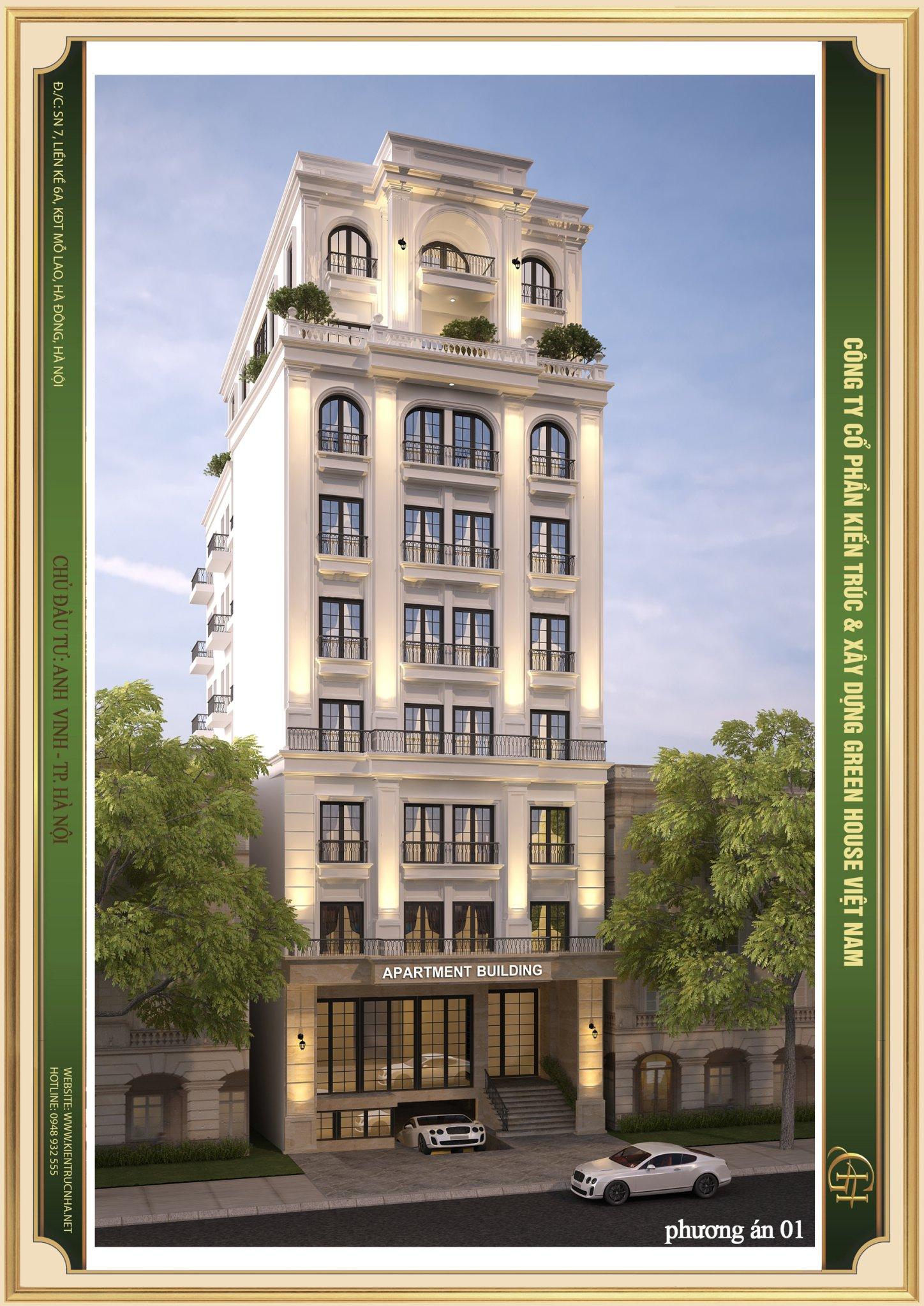 Căn hộ cho thuê 9 tầng với thiết kế mặt tiền khang trang, hiện đại và cao cấp