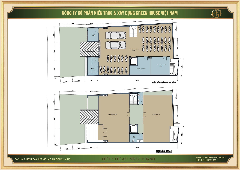 Thiết kế mặt bằng công năng tầng hầm và tầng 1 của căn hộ cho thuê 9 tầng tại Hà Nội