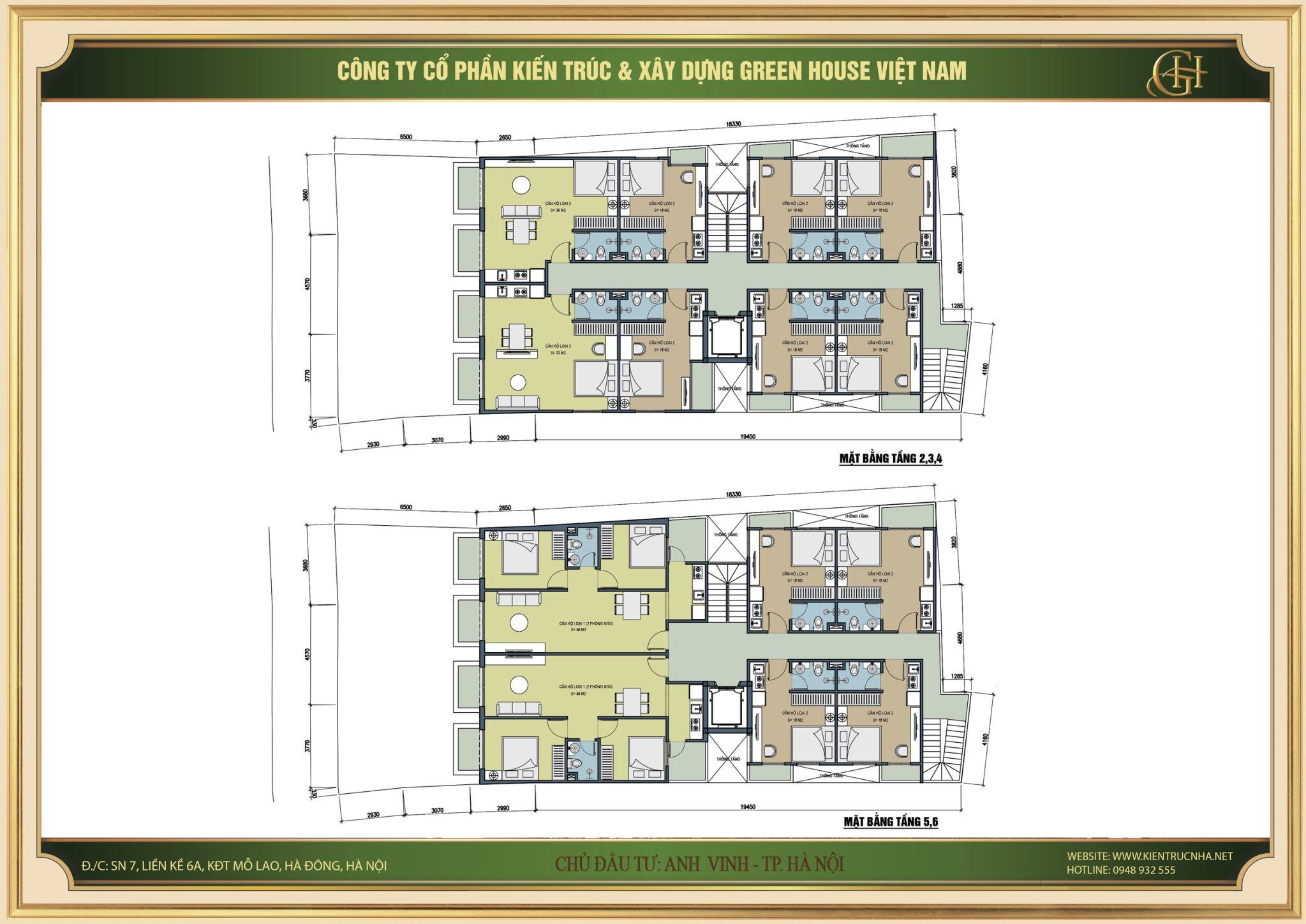 Thiết kế mặt bằng tầng 2,3,4,5,6 của căn hộ cho thuê 9 tầng tại Hà Nội