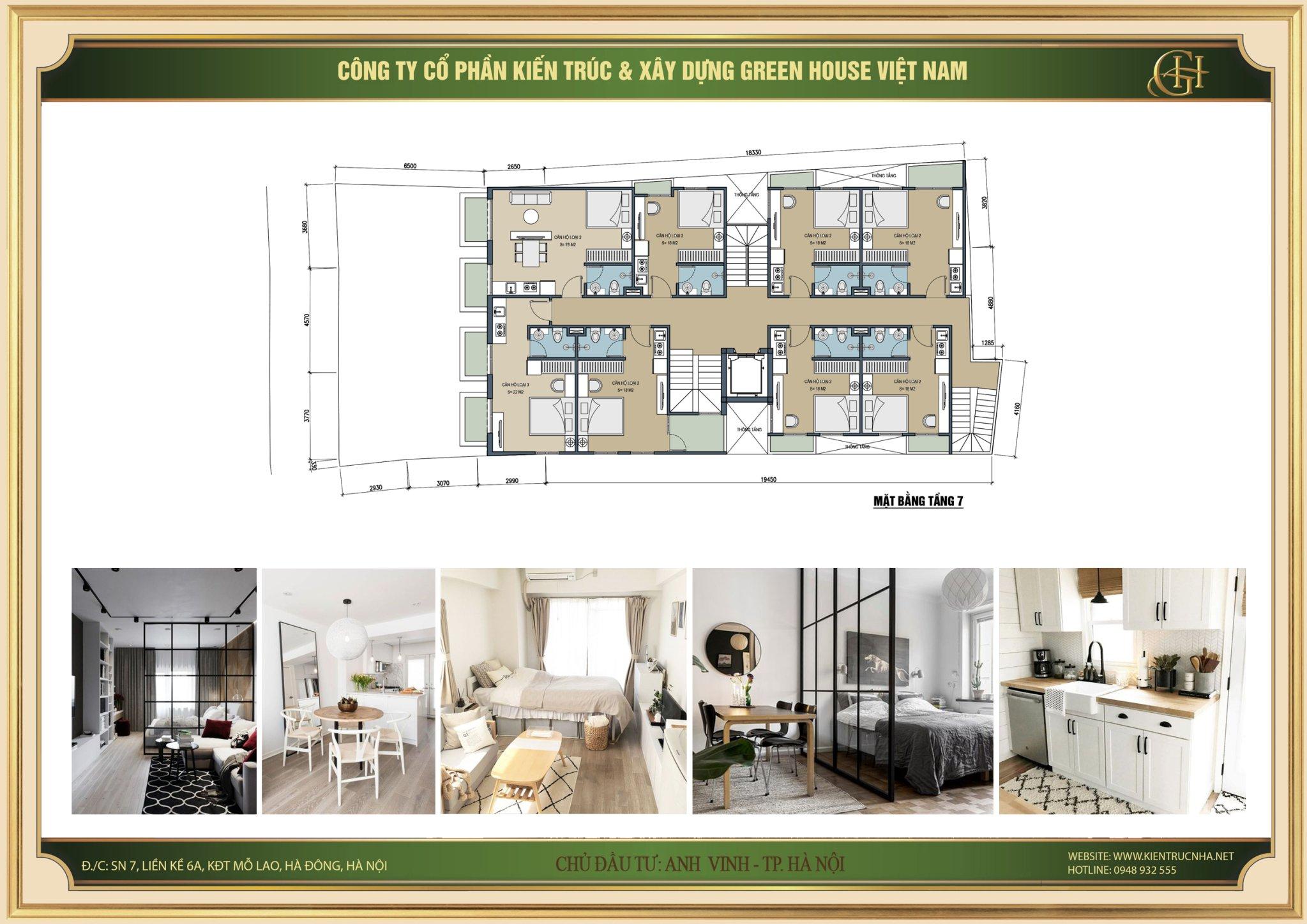 Thiết kế mặt bằng tầng 7 của căn hộ cho thuê 9 tầng tại Hà Nội
